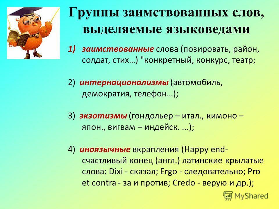 Группы заимствованных слов, выделяемые языковедами 1)заимствованные слова (позировать, район, солдат, стих…)