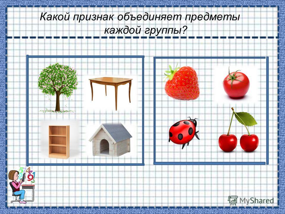 Какой признак объединяет предметы каждой группы?