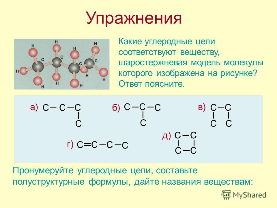 а) CCC C б)C CC C Упражнения Какие углеродные цепи соответствуют веществу, шаростержневая модель молекулы которого изображена на рисунке? Ответ поясните. в) CC CC г) C C CC д)CC CC Пронумеруйте углеродные цепи, составьте полуструктурные формулы, дайт