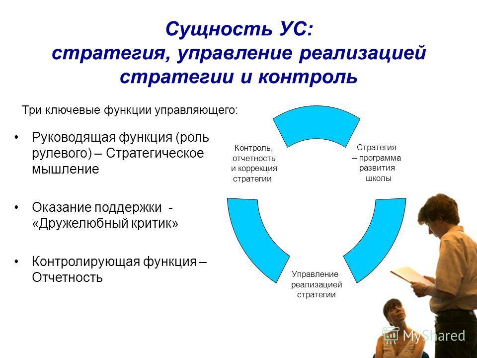 Сущность УС: стратегия, управление реализацией стратегии и контроль Стратегия – программа развития школы Управление реализацией стратегии Контроль, отчетность и коррекция стратегии Три ключевые функции управляющего: Руководящая функция (роль рулевого