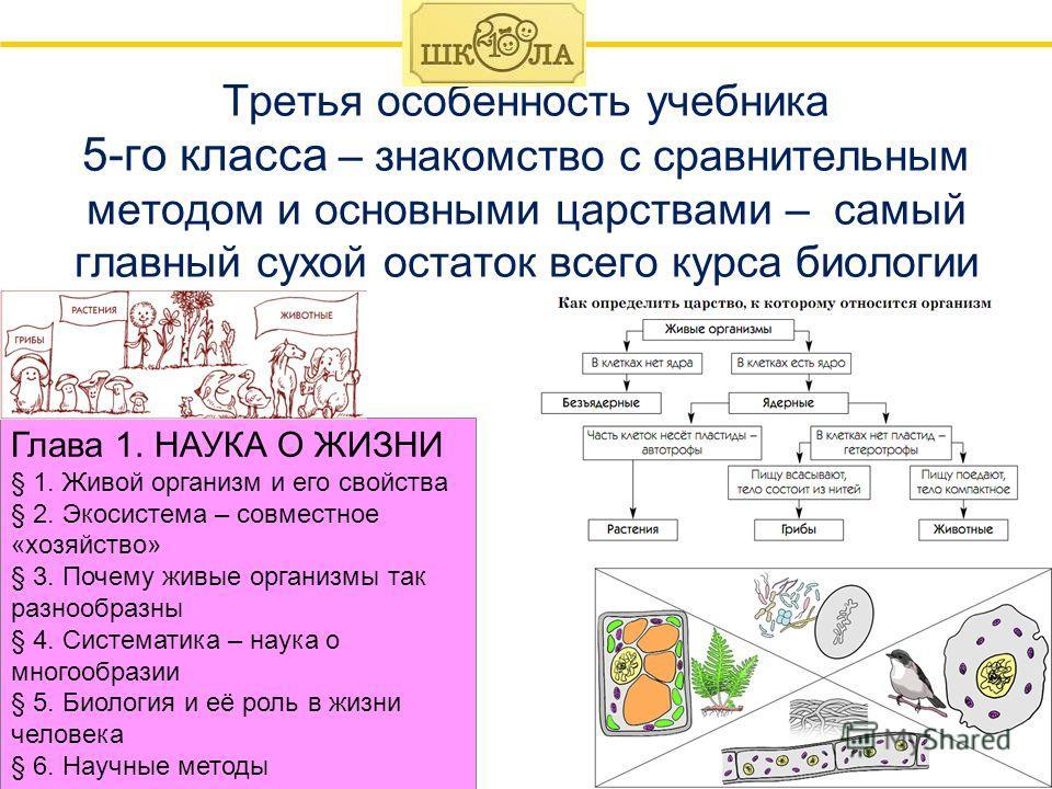 20 Третья особенность учебника 5-го класса – знакомство с сравнительным методом и основными царствами – самый главный сухой остаток всего курса биологии Глава 1. НАУКА О ЖИЗНИ § 1. Живой организм и его свойства § 2. Экосистема – совместное «хозяйство
