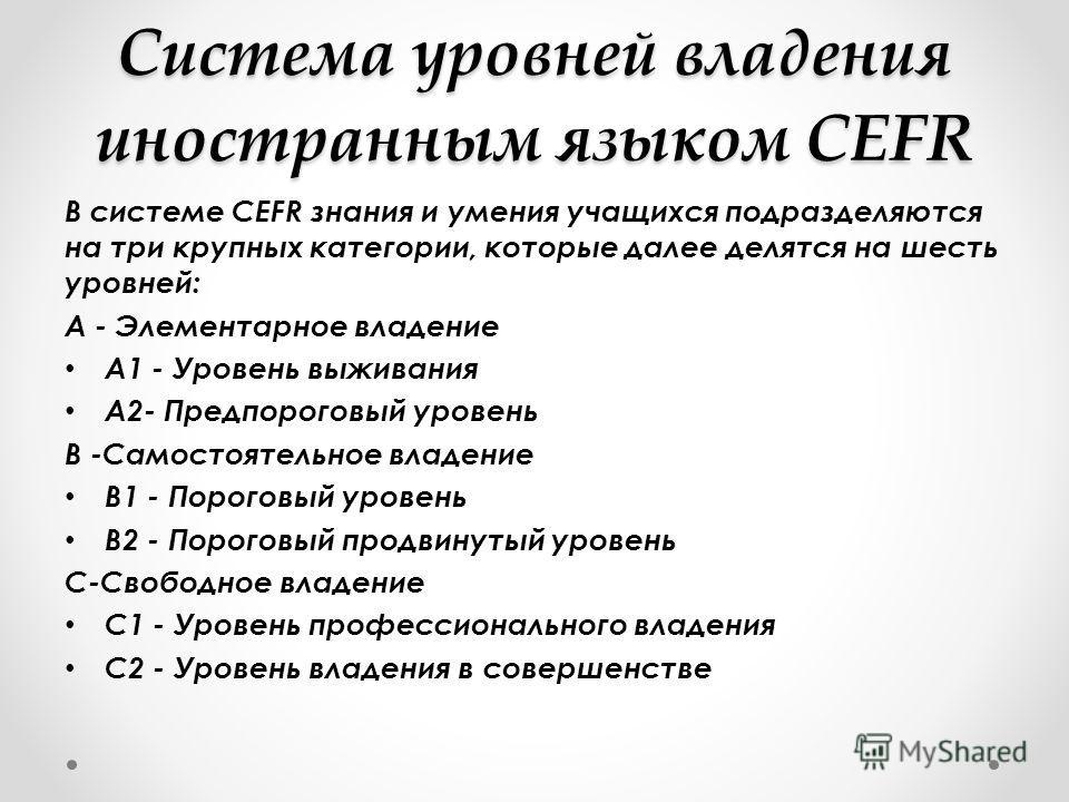 Система уровней владения иностранным языком CEFR В системе CEFR знания и умения учащихся подразделяются на три крупных категории, которые далее делятся на шесть уровней: A - Элементарное владение A1 - Уровень выживания A2- Предпороговый уровень B -Са