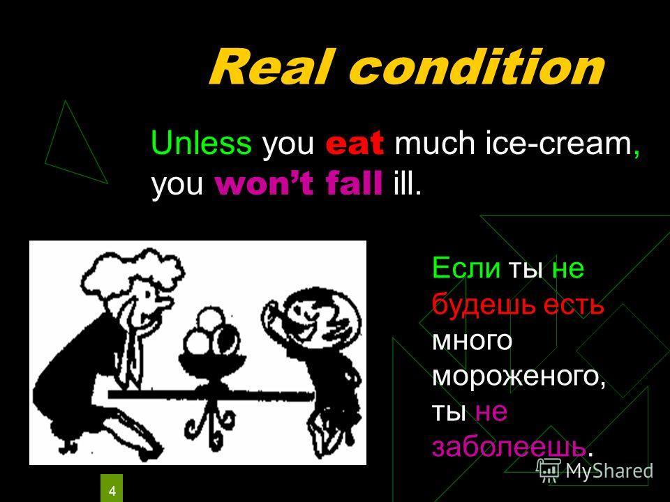 4 Real condition Unless you eat much ice-cream, you wont fall ill. Если ты не будешь есть много мороженого, ты не заболеешь.
