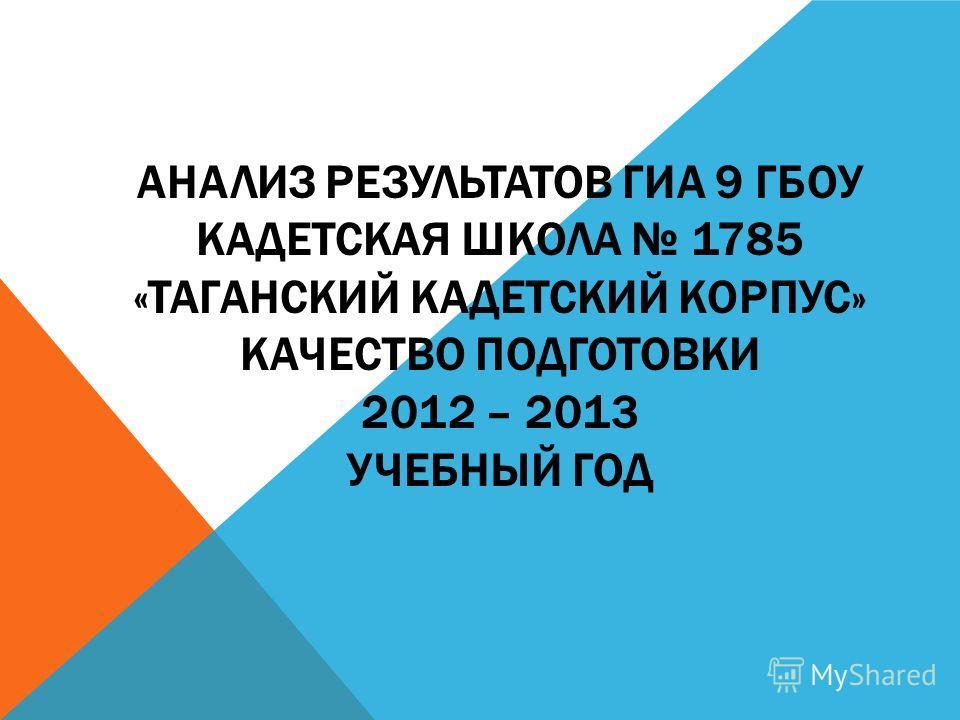 АНАЛИЗ РЕЗУЛЬТАТОВ ГИА 9 ГБОУ КАДЕТСКАЯ ШКОЛА 1785 «ТАГАНСКИЙ КАДЕТСКИЙ КОРПУС» КАЧЕСТВО ПОДГОТОВКИ 2012 – 2013 УЧЕБНЫЙ ГОД