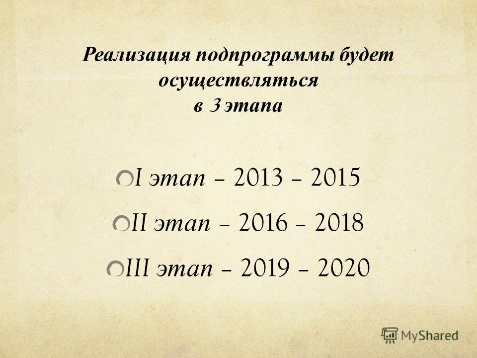 Реализация п одпрограммы б удет осуществляться в 3 э тапа I этап – 2013 – 2015 II этап – 2016 – 2018 III этап – 2019 – 2020