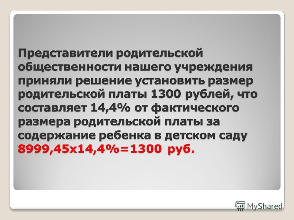 Представители родительской общественности нашего учреждения приняли решение установить размер родительской платы 1300 рублей, что составляет 14,4% от фактического размера родительской платы за содержание ребенка в детском саду 8999,45х14,4%=1300 руб.