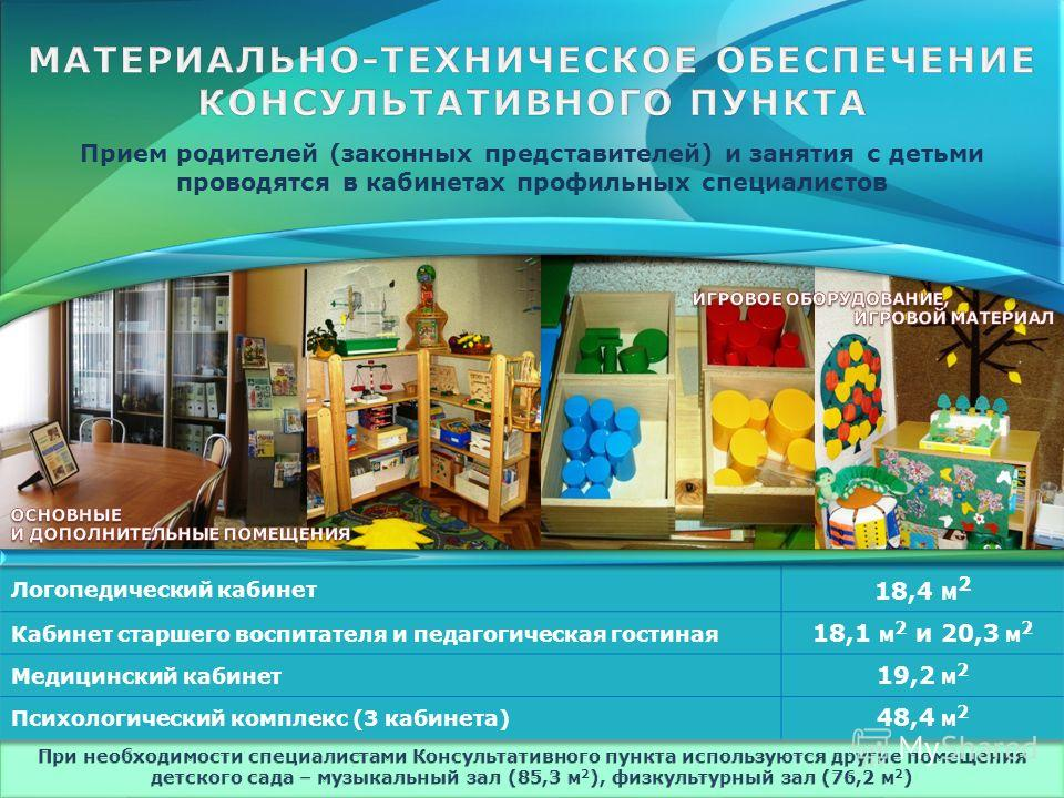 Прием родителей (законных представителей) и занятия с детьми проводятся в кабинетах профильных специалистов