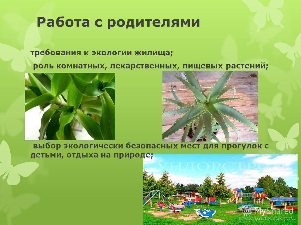 Работа с родителями требования к экологии жилища; роль комнатных, лекарственных, пищевых растений; выбор экологически безопасных мест для прогулок с детьми, отдыха на природе;