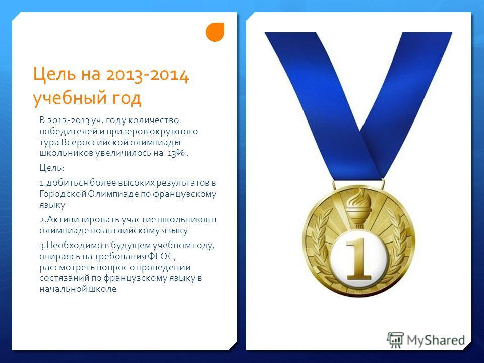 Цель на 2013-2014 учебный год В 2012-2013 уч. году количество победителей и призеров окружного тура Всероссийской олимпиады школьников увеличилось на 13%. Цель: 1.добиться более высоких результатов в Городской Олимпиаде по французскому языку 2.Активи