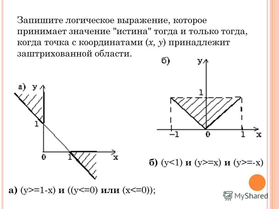 а) (y>=1-x) и ((y