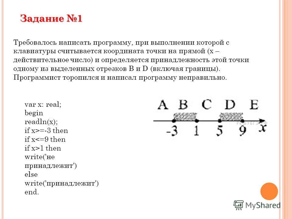 Требовалось написать программу, при выполнении которой с клавиатуры считывается координата точки на прямой (x – действительное число) и определяется принадлежность этой точки одному из выделенных отрезков В и D (включая границы). Программист торопилс