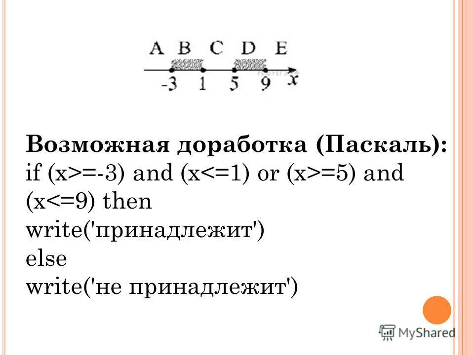 Возможная доработка (Паскаль): if (x>=-3) and (x =5) and (x
