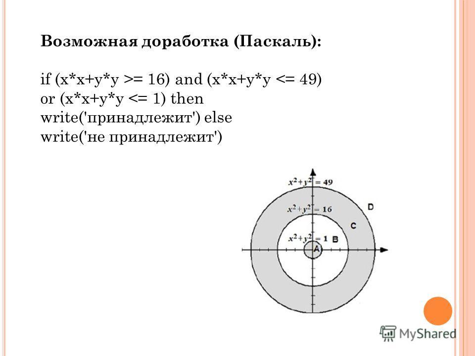 Возможная доработка (Паскаль): if (х*х+у*у >= 16) and (х*х+у*у