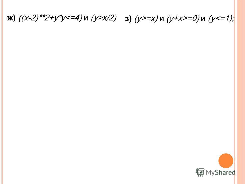 ж) ((x-2)**2+y*y x/2) з) (y>=x) и (y+x>=0) и (y