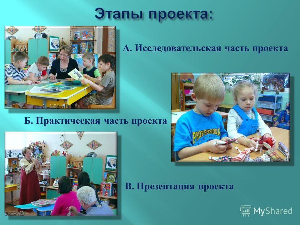 В. Презентация проекта Б. Практическая часть проекта А. Исследовательская часть проекта