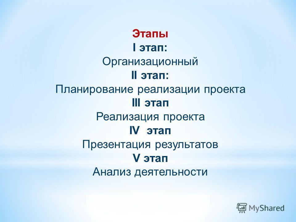 Этапы I этап: Организационный II этап: Планирование реализации проекта III этап Реализация проекта IV этап Презентация результатов V этап Анализ деятельности