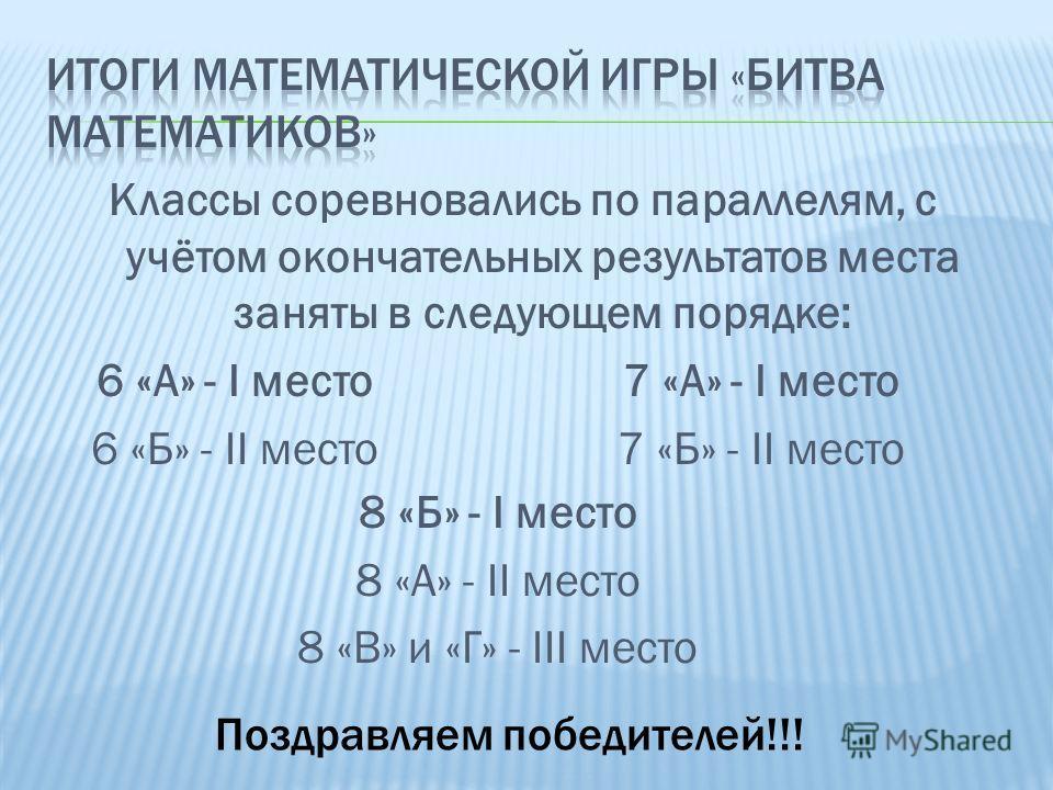 Классы соревновались по параллелям, с учётом окончательных результатов места заняты в следующем порядке: 6 «А» - I место 6 «Б» - II место 7 «А» - I место 7 «Б» - II место 8 «Б» - I место 8 «А» - II место 8 «В» и «Г» - III место Поздравляем победителе