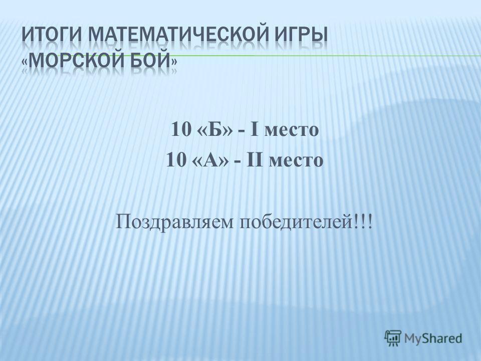 10 «Б» - I место 10 «А» - II место Поздравляем победителей!!!
