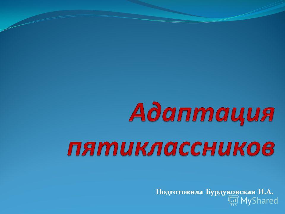 Подготовила Бурдуковская И.А.