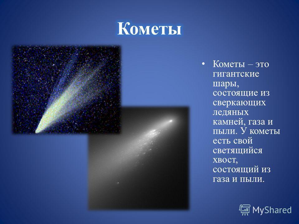Кометы – это гигантские шары, состоящие из сверкающих ледяных камней, газа и пыли. У кометы есть свой светящийся хвост, состоящий из газа и пыли.
