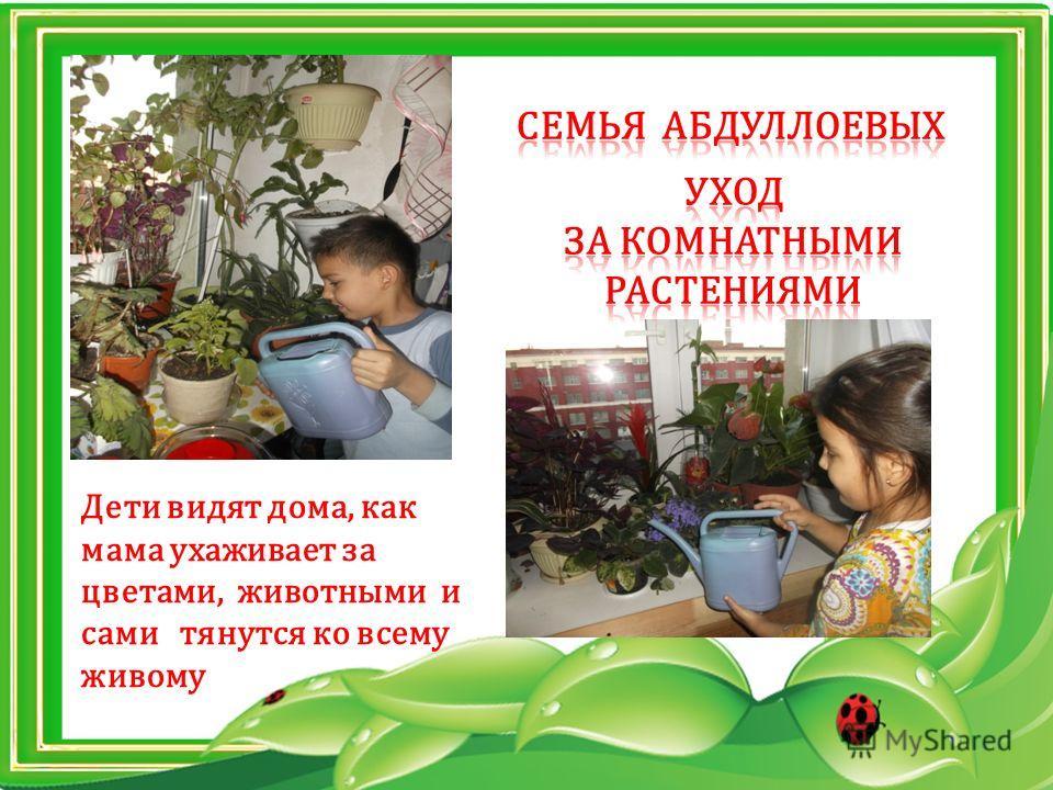 Дети видят дома, как мама ухаживает за цветами, животными и сами тянутся ко всему живому