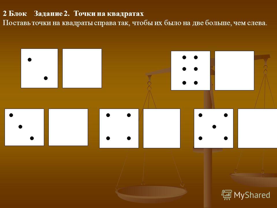 2 Блок Задание 2. Точки на квадратах Поставь точки на квадраты справа так, чтобы их было на две больше, чем слева.