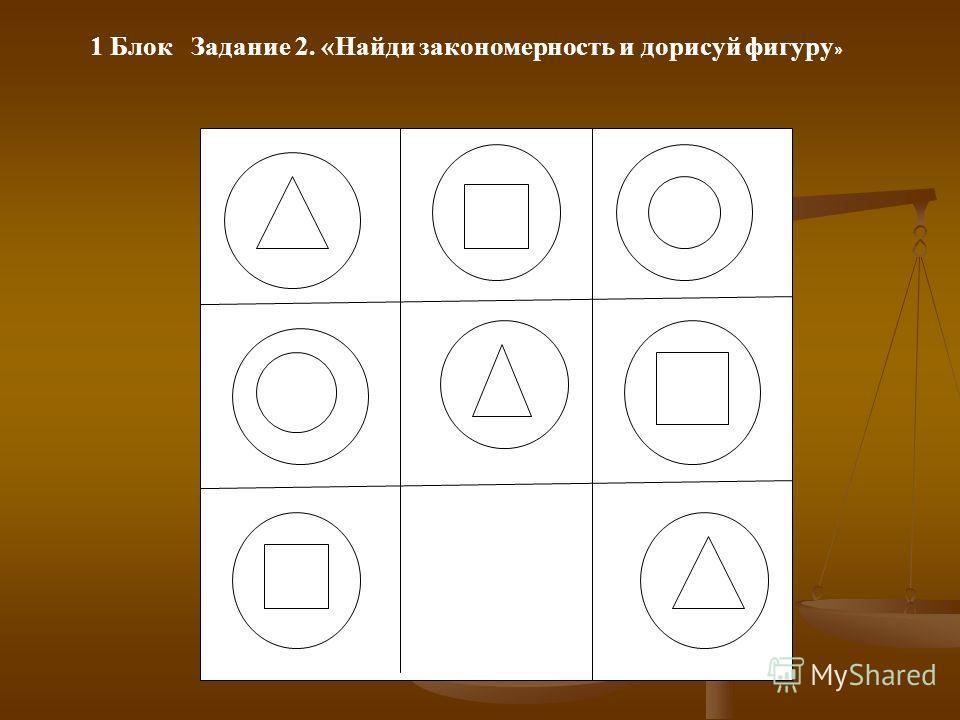 1 Блок Задание 2. «Найди закономерность и дорисуй фигуру »