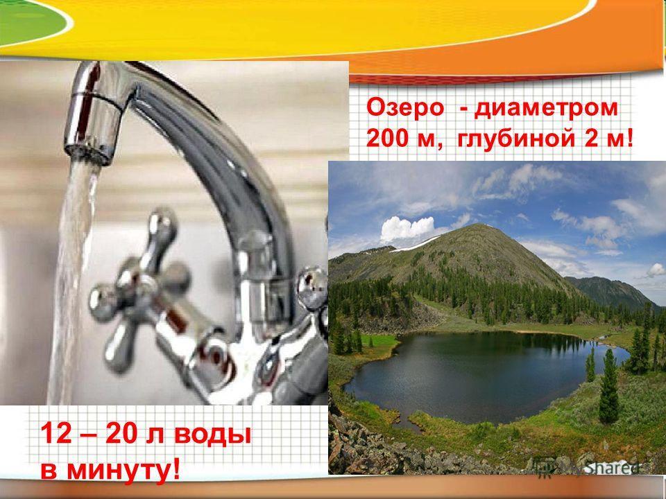 12 – 20 л воды в минуту! Озеро - диаметром 200 м, глубиной 2 м!