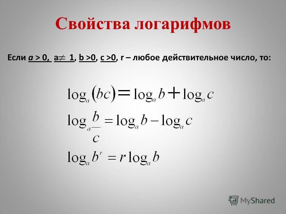 Свойства логарифмов Если a > 0, a 1, b >0, c >0, r – любое действительное число, то: