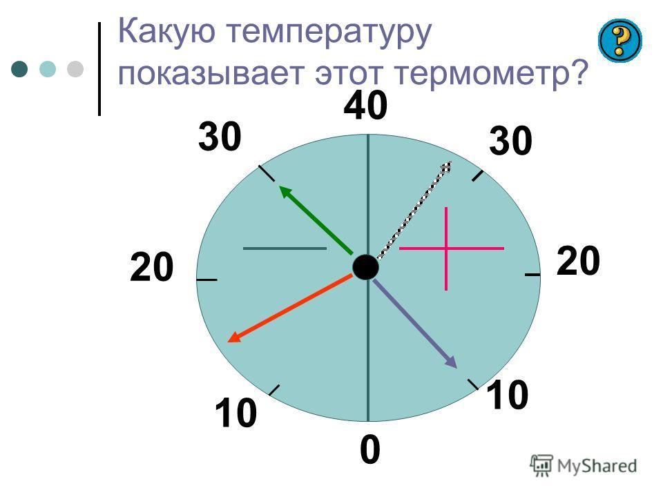 40 30 20 10 0 20 30 Какую температуру показывает этот термометр?