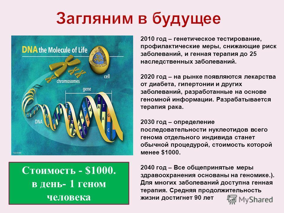 2010 год – генетическое тестирование, профилактические меры, снижающие риск заболеваний, и генная терапия до 25 наследственных заболеваний. 2020 год – на рынке появляются лекарства от диабета, гипертонии и других заболеваний, разработанные на основе