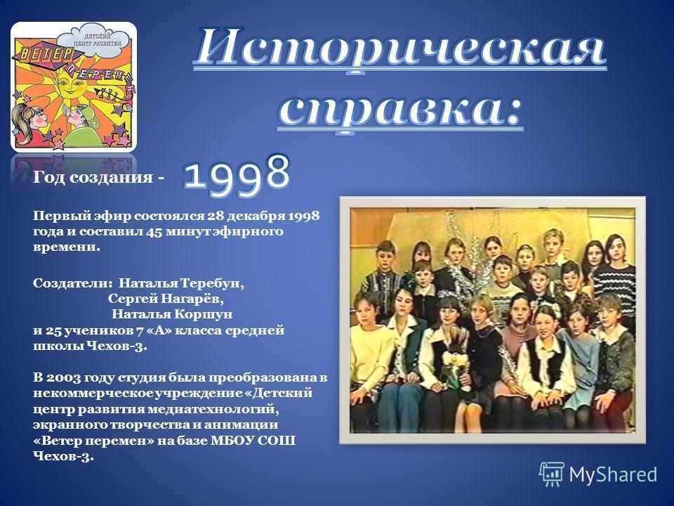 Год создания - Первый эфир состоялся 28 декабря 1998 года и составил 45 минут эфирного времени. Создатели: Наталья Теребун, Сергей Нагарёв, Наталья Коршун и 25 учеников 7 «А» класса средней школы Чехов-3. В 2003 году студия была преобразована в неком
