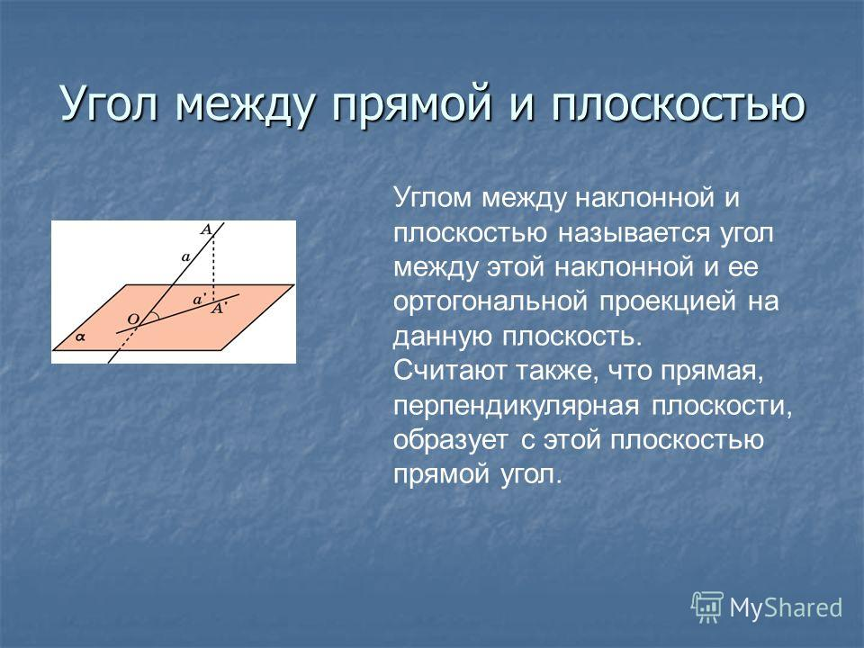Угол между прямой и плоскостью Углом между наклонной и плоскостью называется угол между этой наклонной и ее ортогональной проекцией на данную плоскость. Считают также, что прямая, перпендикулярная плоскости, образует с этой плоскостью прямой угол.