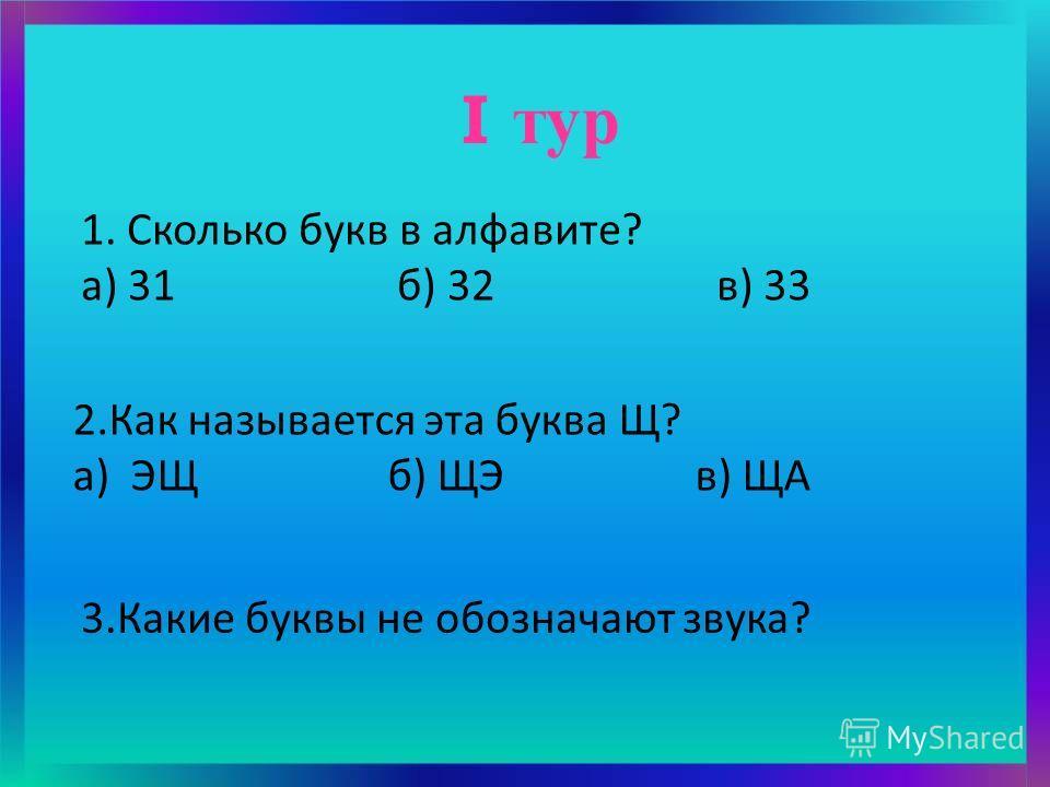 2.Как называется эта буква Щ? а) ЭЩ б) ЩЭ в) ЩА I тур 1. Сколько букв в алфавите? а) 31 б) 32 в) 33 3.Какие буквы не обозначают звука?