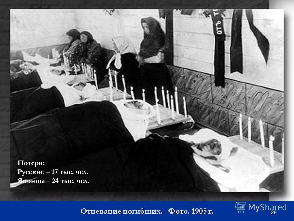 29 Отпевание погибших. Фото. 1905 г. Потери: Русские – 17 тыс. чел. Японцы – 24 тыс. чел.