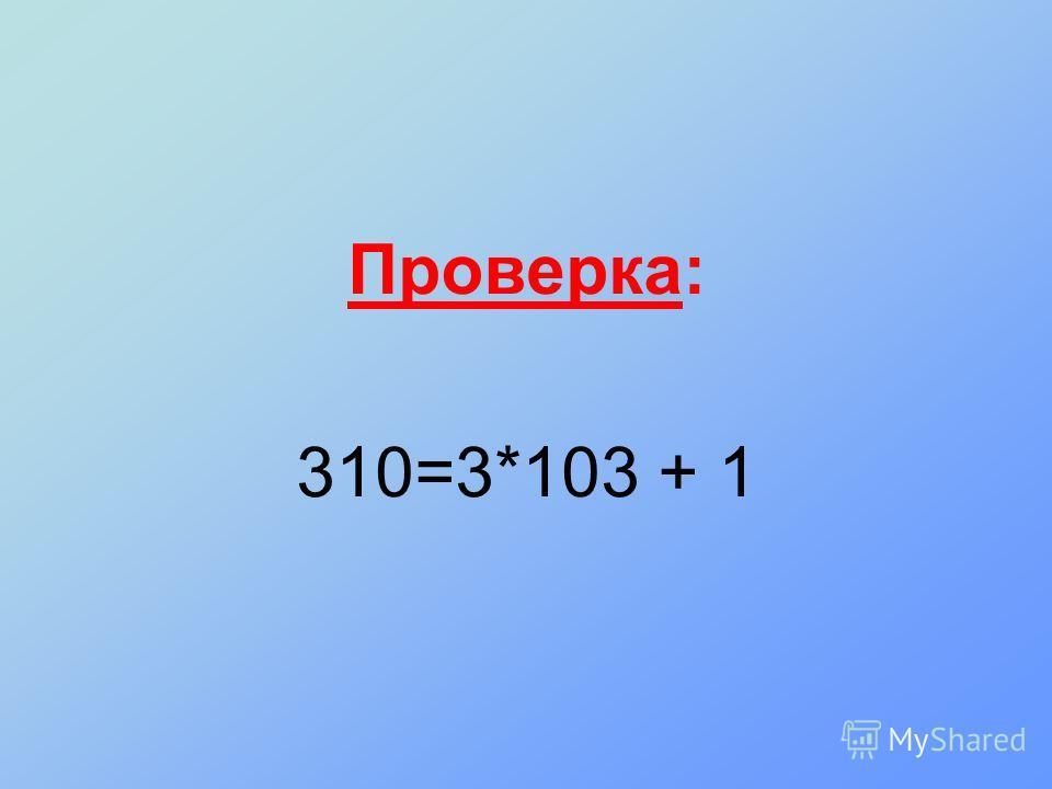 Проверка: 310=3*103 + 1