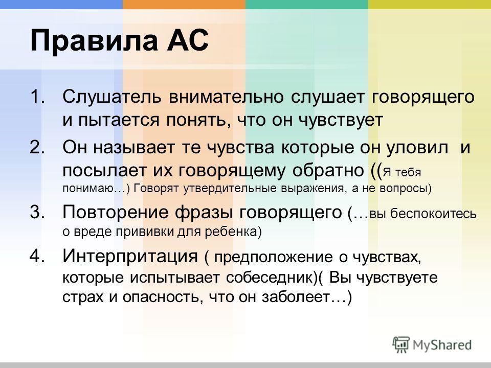 Правила АС 1.Слушатель внимательно слушает говорящего и пытается понять, что он чувствует 2.Он называет те чувства которые он уловил и посылает их говорящему обратно (( Я тебя понимаю…) Говорят утвердительные выражения, а не вопросы) 3.Повторение фра