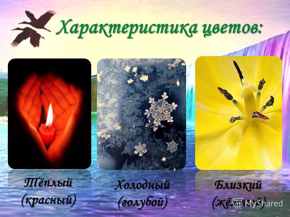 Характеристика цветов: Тёплый (красный) Холодный (голубой) Близкий (жёлтый)