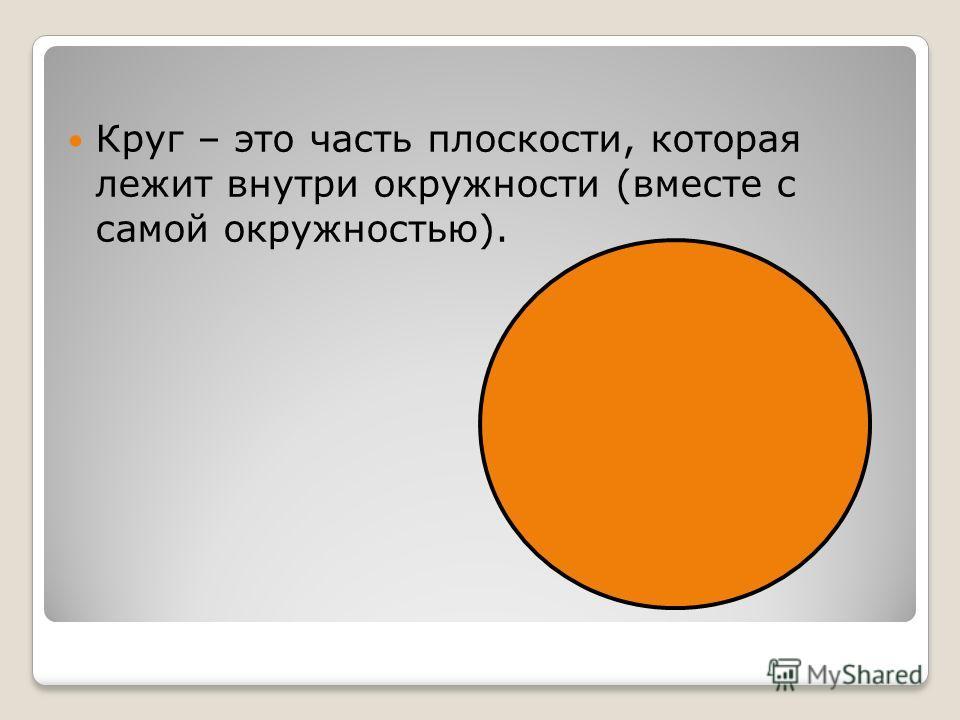 Круг – это часть плоскости, которая лежит внутри окружности (вместе с самой окружностью).