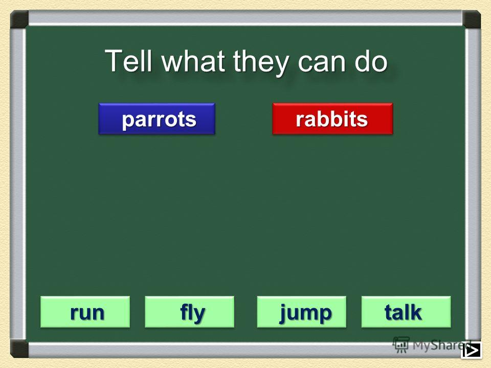 Tell what they can do parrots parrots rabbits rabbits run run fly fly jump jump talk talk