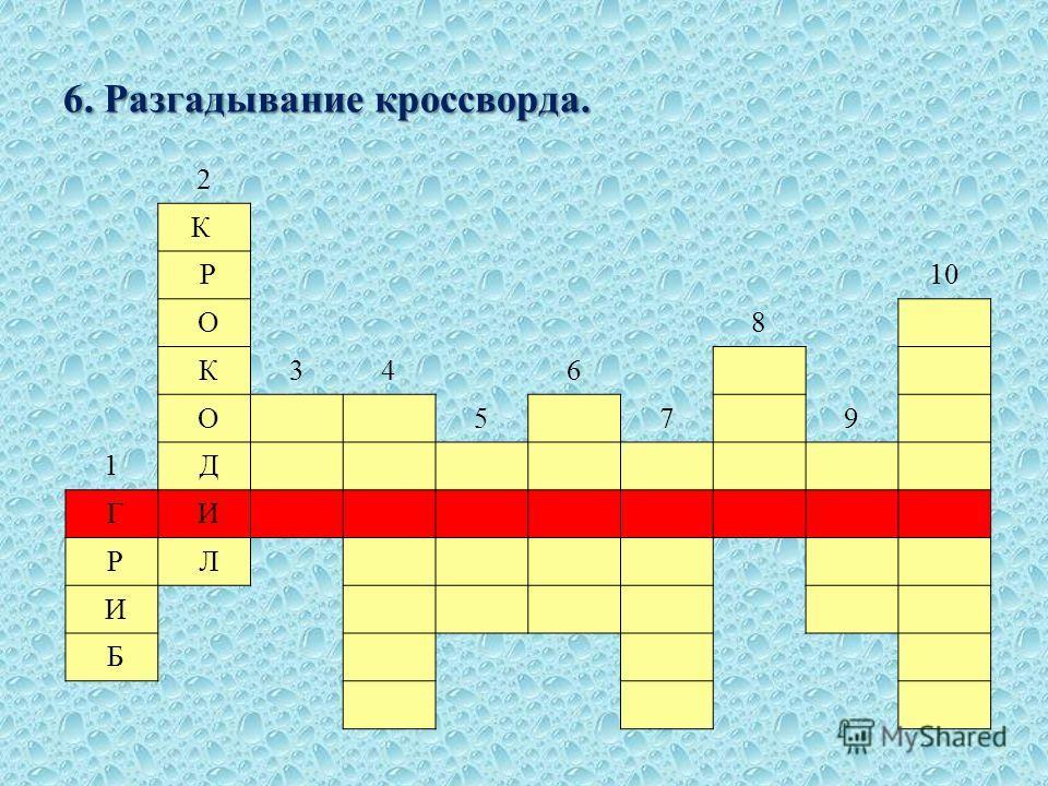 6. Разгадывание кроссворда. 2 К Р 10 О 8 К346 О 5 7 9 1 Д Г И Р Л И Б