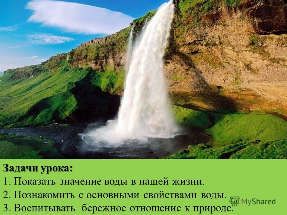 Задачи урока: 1.Показать значение воды в нашей жизни. 2.Познакомить с основными свойствами воды. 3.Воспитывать бережное отношение к природе.
