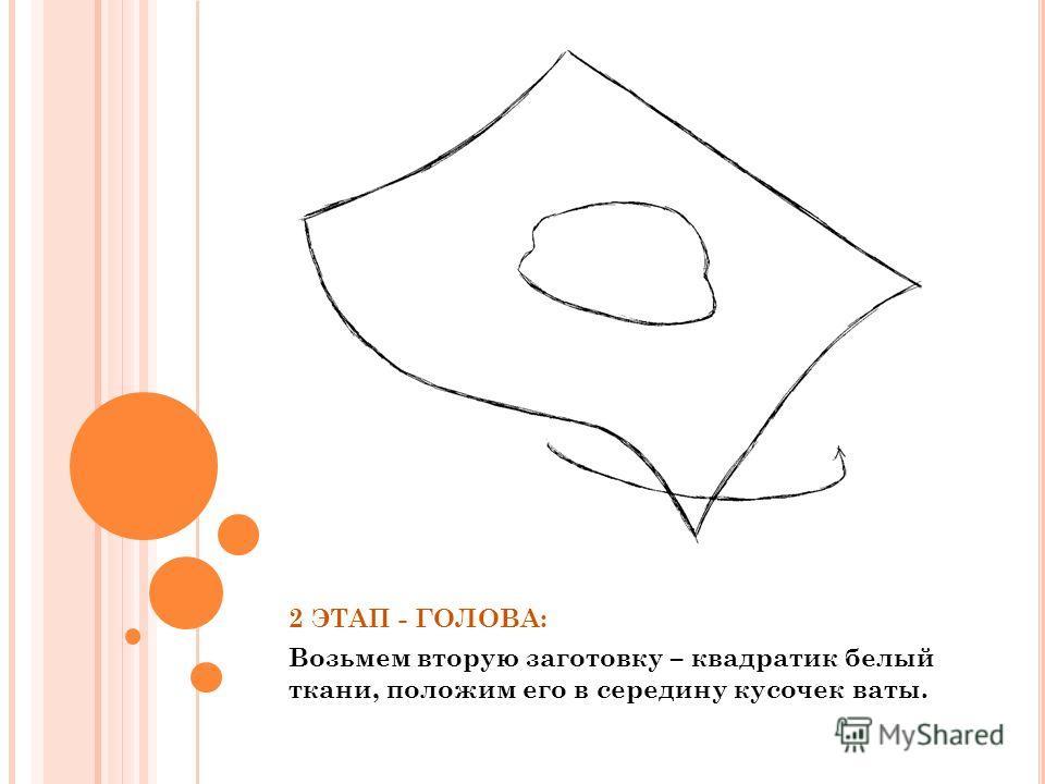 2 ЭТАП - ГОЛОВА: Возьмем вторую заготовку – квадратик белый ткани, положим его в середину кусочек ваты.