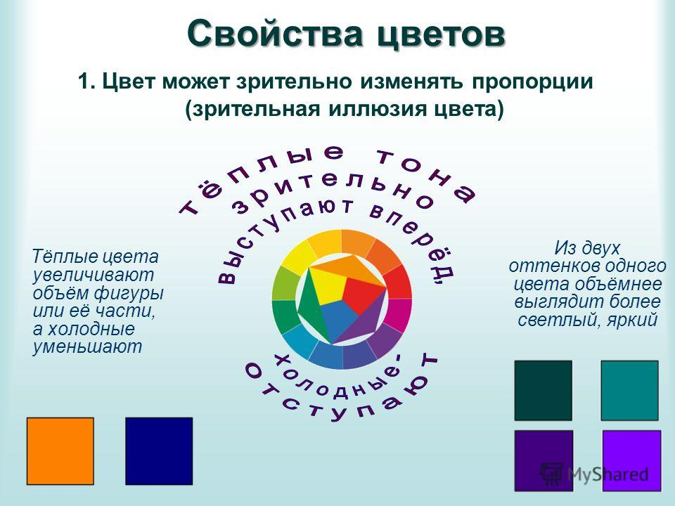 Тёплые цвета увеличивают объём фигуры или её части, а холодные уменьшают Из двух оттенков одного цвета объёмнее выглядит более светлый, яркий Свойства цветов 1. Цвет может зрительно изменять пропорции (зрительная иллюзия цвета)