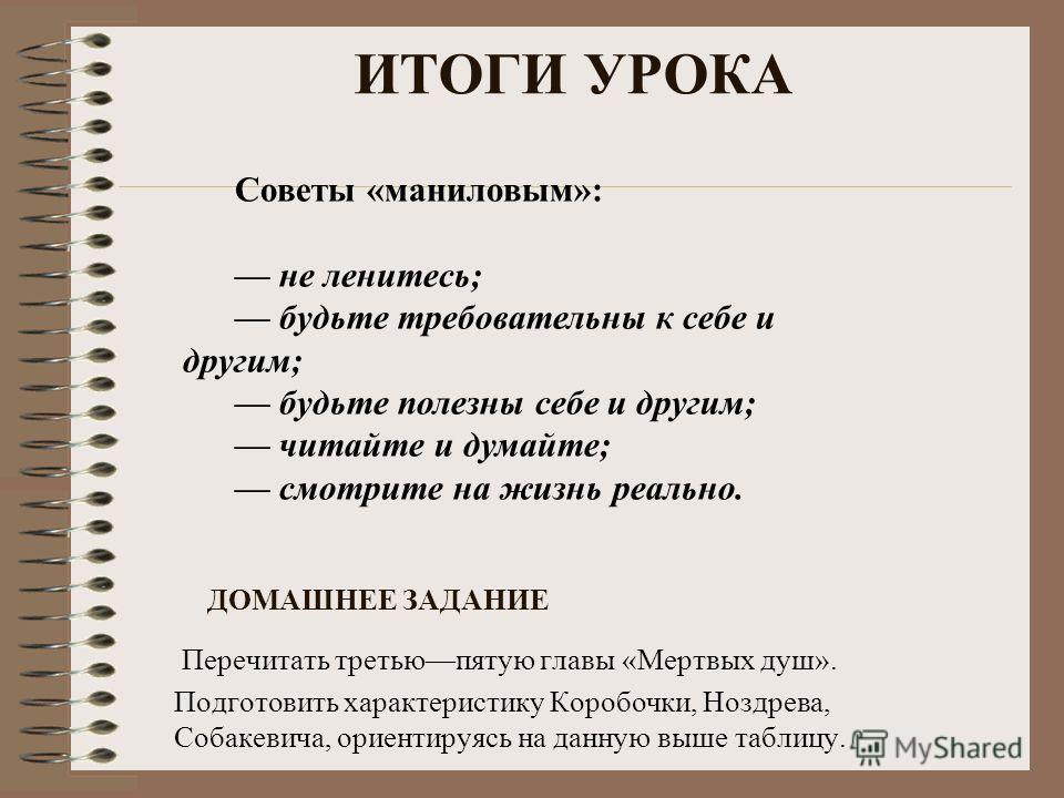 Перечитать третьюпятую главы «Мертвых душ». Подготовить характеристику Коробочки, Ноздрева, Собакевича, ориентируясь на данную выше таблицу. ДОМАШНЕЕ ЗАДАНИЕ Советы «маниловым»: не ленитесь; будьте требовательны к себе и другим; будьте полезны себе и