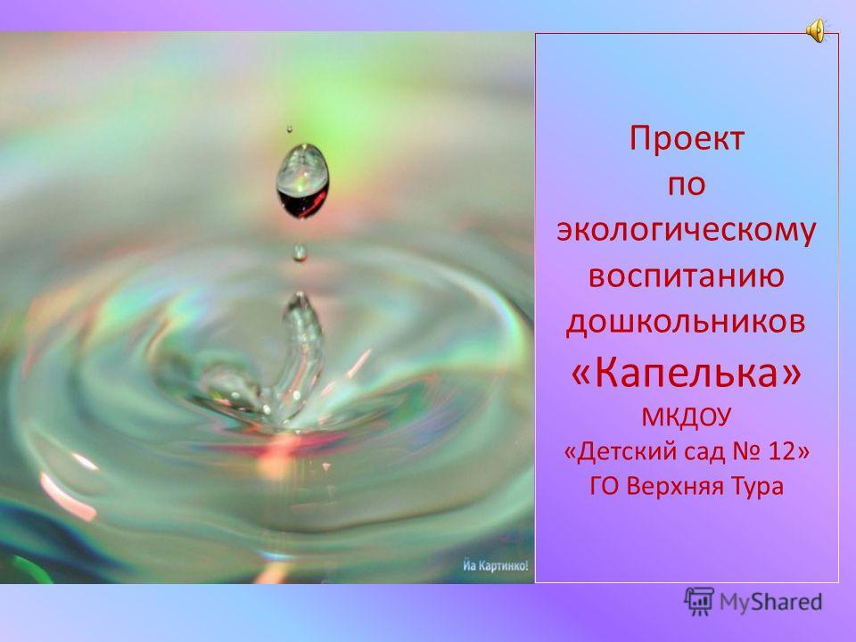 Проект по экологическому воспитанию дошкольников «Капелька» МКДОУ «Детский сад 12» ГО Верхняя Тура