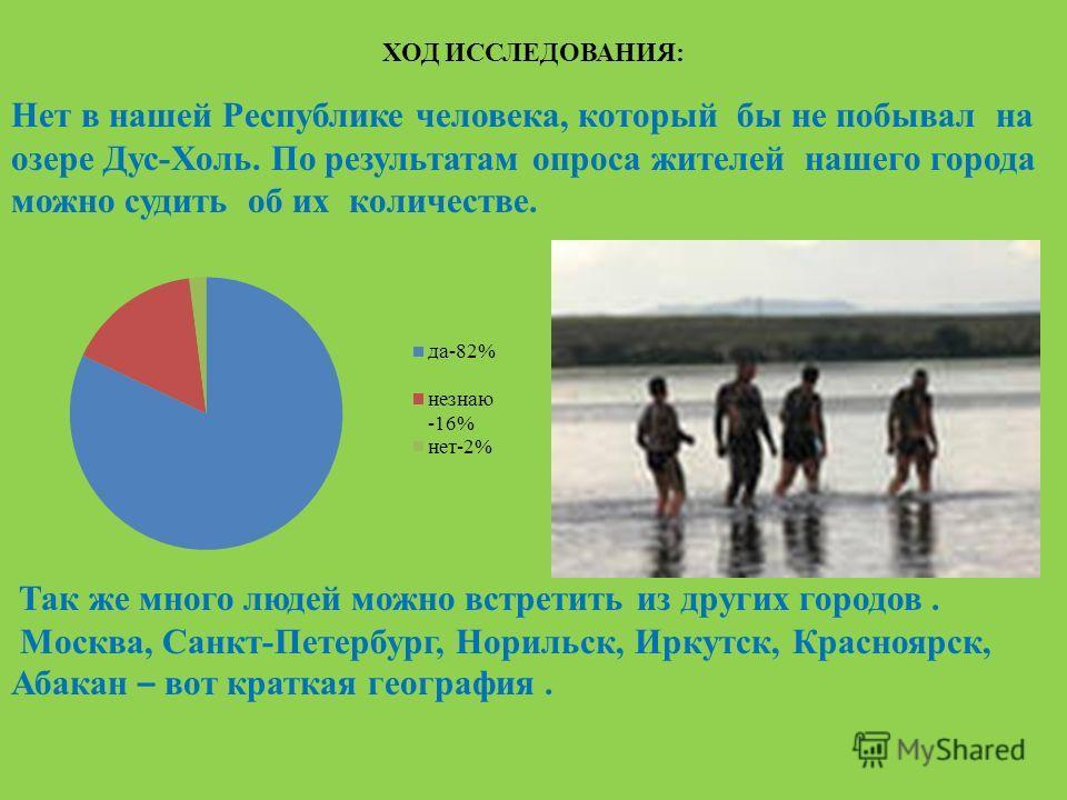 ХОД ИССЛЕДОВАНИЯ: Нет в нашей Республике человека, который бы не побывал на озере Дус-Холь. По результатам опроса жителей нашего города можно судить об их количестве. Так же много людей можно встретить из других городов. Москва, Санкт-Петербург, Нори