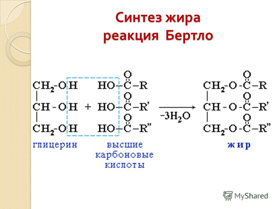 Синтез жира реакция Бертло
