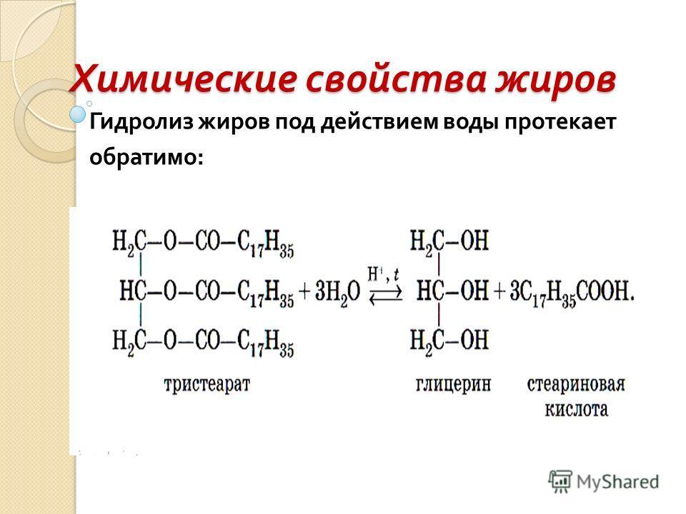 Химические свойства жиров Гидролиз жиров под действием воды протекает обратимо :