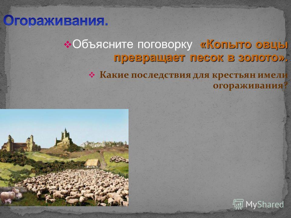 «Копыто овцы превращает песок в золото». Объясните поговорку «Копыто овцы превращает песок в золото». Какие последствия для крестьян имели огораживания?